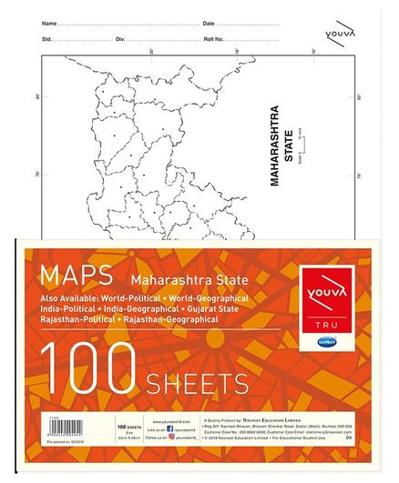 Youva Maharashtra State Map Sheets - Pack of 100