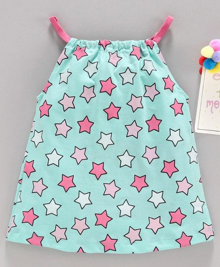 Babyhug Star Printed Singlet Top - Sea Green