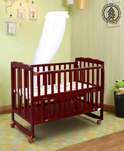 Babyhug Montana Wooden Cot Cum Rocker with Mosquito Net Cherry - Red