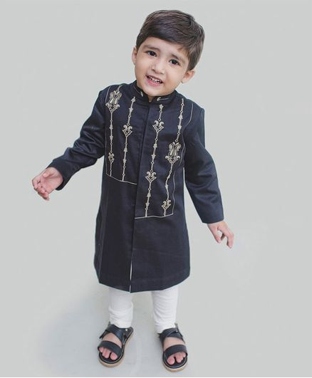 Tiber Taber Full Sleeves Embroidery Detailing Kurta & Pajama Set - Black & White
