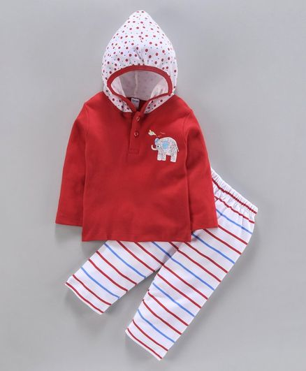 Tango Hooded T-Shirt & Track Pant Set Elephant Print - Red White