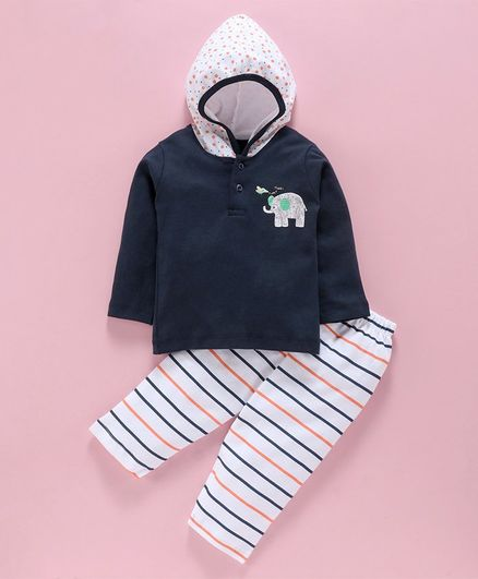 Tango Hooded T-Shirt & Track Pant Set Elephant Print - Navy White