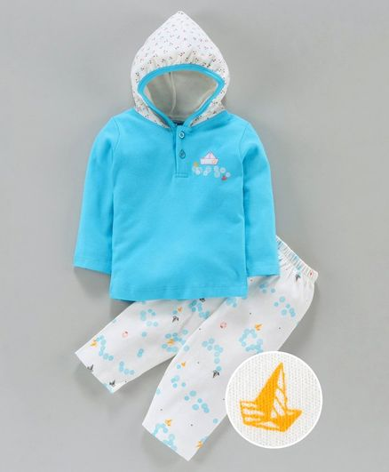 Tango Hooded T-Shirt & Track Pant Set Boat Print - White Blue
