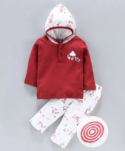 Tango Hooded T-Shirt & Track Pant Set Boat Print - White Red
