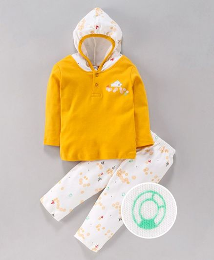 Tango Hooded T-Shirt & Track Pant Set Boat Print - White Yellow