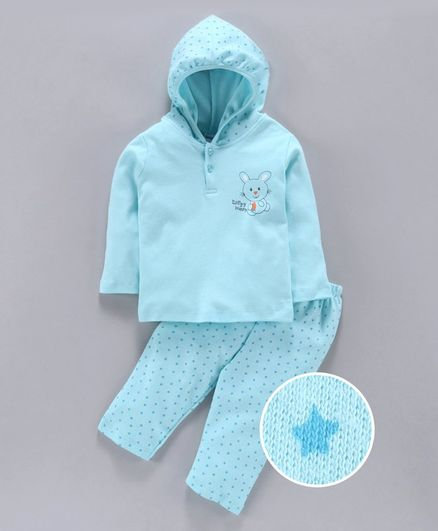 Tango Hooded T-Shirt & Track Pant Set Bunny Print - Teal Blue