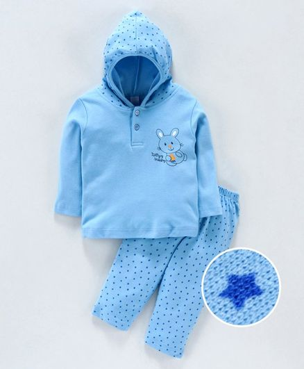 Tango Hooded T-Shirt & Track Pant Set Bunny Print - Blue