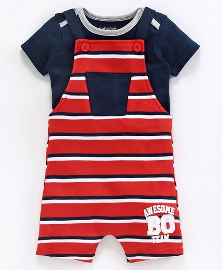 Babyoye Cotton Striped Dungaree with Inner Tee - Red Blue