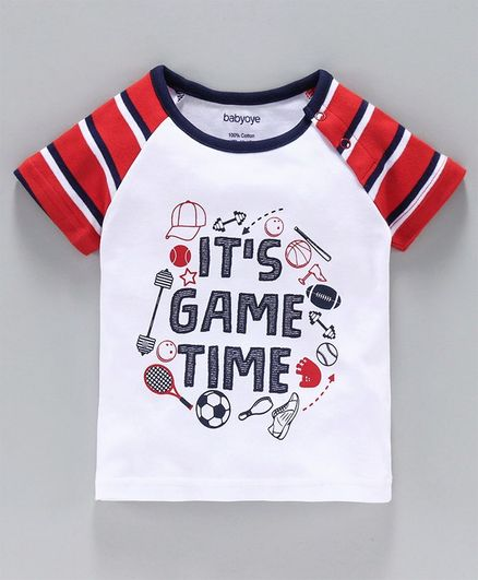 Babyoye Half Sleeves Striped Tee Text Print - White Red