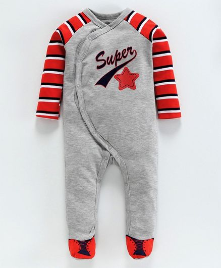 Babyoye Full Sleeves Footed Cotton Sleep Suit Text Print - Grey Red