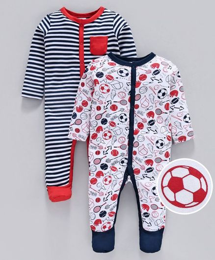 Babyoye Full Sleeves Cotton Footed Sleepsuits Printed & Striped Pack of 2 - White Multicolor