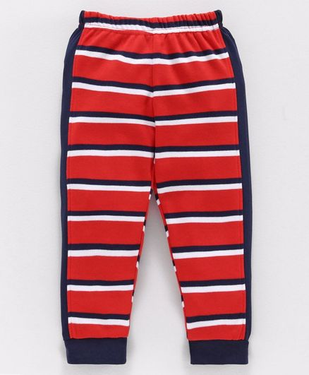 Babyoye Cotton Striped Full Length Lounge Pant - Red