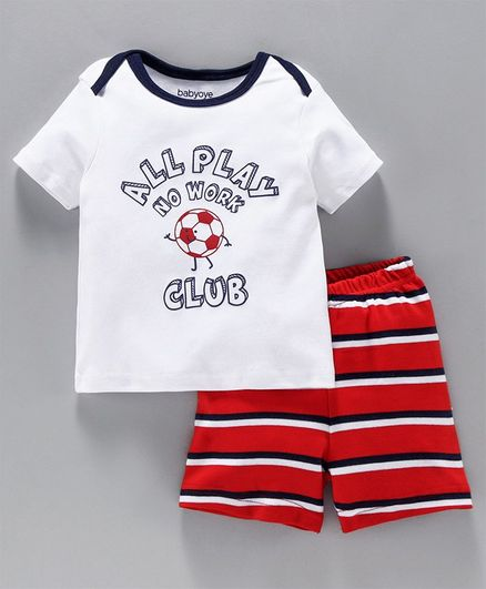 Babyoye Half Sleeves Cotton Tee & Shorts Text Print - White Red