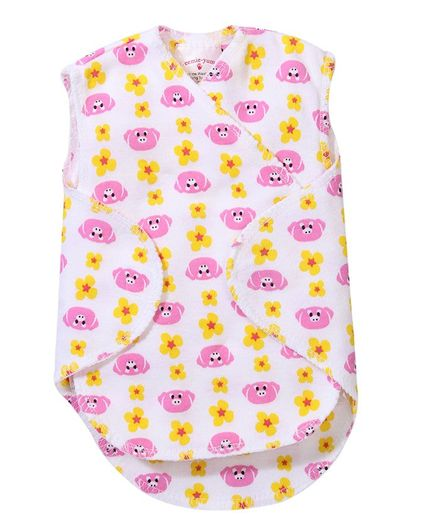 Preemie-Yums Sleeveless Wrap Shirt - Pink & White