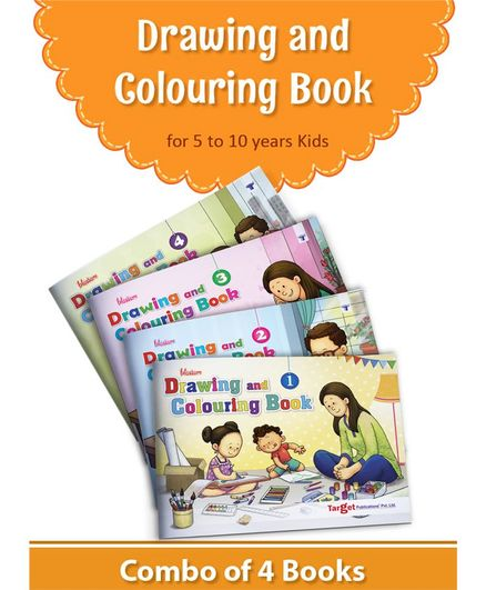 Target Publication Drawing and Colouring Books Pack of 4 - English