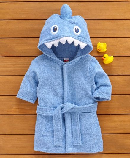 Babyhug 3D Hooded Bathrobe - Blue