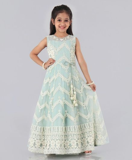 Enfance Sleeveless Flower Embroidered Flared One Piece Gown - Green