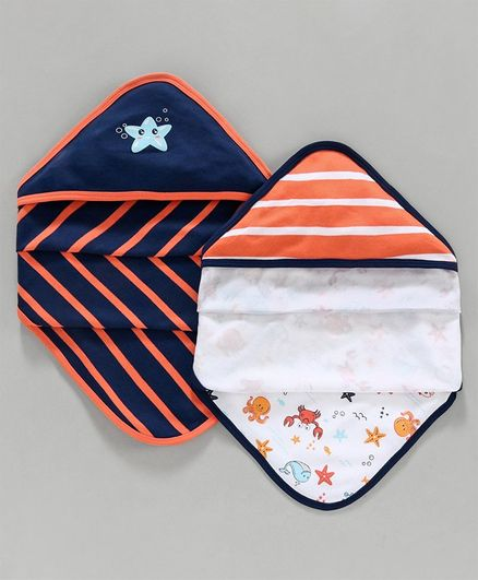 Babyoye Hooded Wrapper Set of 2 - Orange & Blue