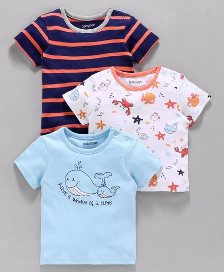 Babyoye Half Sleeves Cotton Tee Pack of 3 - Blue White