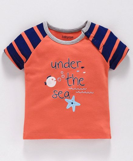 Babyoye Cotton Half Sleeves Tee Text Print - Peach
