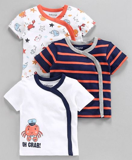 Babyoye Cotton Half Sleeves Jhabla Vest Aquatic Print - White Navy Orange