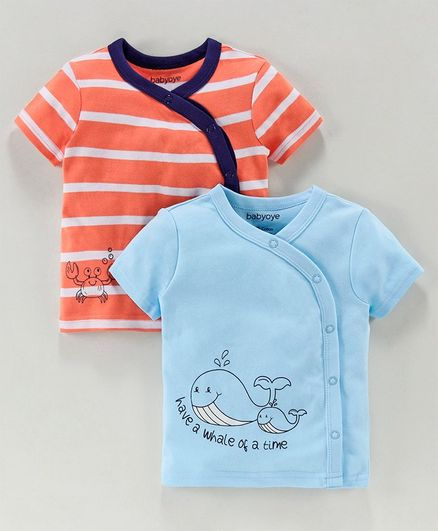 Babyoye Half Sleeves Cotton Printed & Striped Vests Pack of 2 - Blue Orange