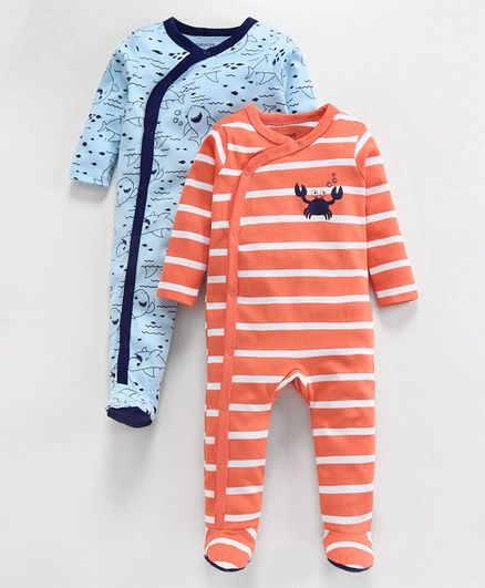 Babyoye Cotton Full Sleeves Sleepsuit Shark Print Pack of 2 - Blue Peach