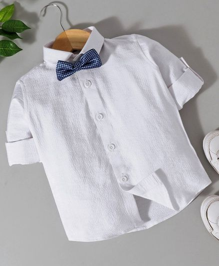 Robo Fry Full Sleeves Shirt With Bow - White