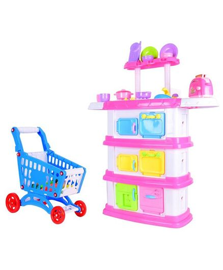 Planet of Toys Battery Operated Kitchen Play Set With Light & Sound - Pink