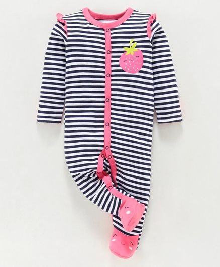 Babyoye Full Sleeves Cotton Footed Striped Sleepsuit  - Navy Pink