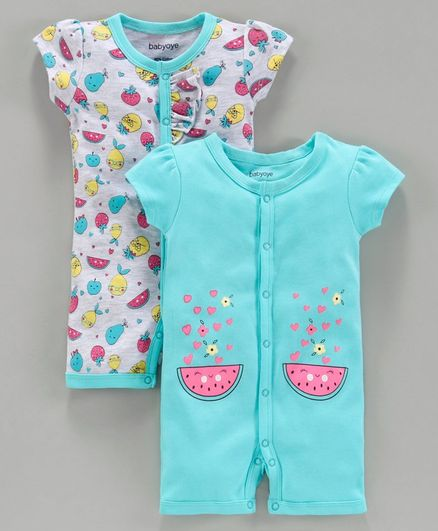 Babyoye Half Sleeves Romper Fruit Print Pack of 2 - Grey Blue
