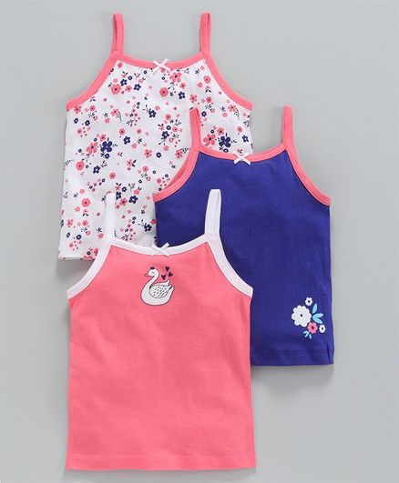 Babyoye Singlet Cotton Printed Camisoles Pack of 3 - Coral White Blue