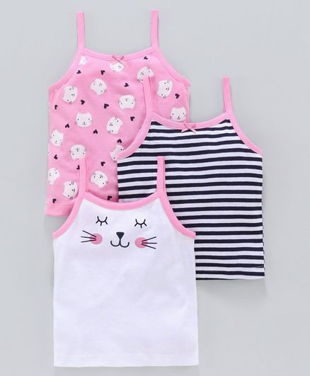 Babyoye Cotton Slips Kitty Print Pack of 3 - White Pink