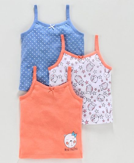 Babyoye Cotton Singlet Neck Printed Slips Pack of 3 - Blue White