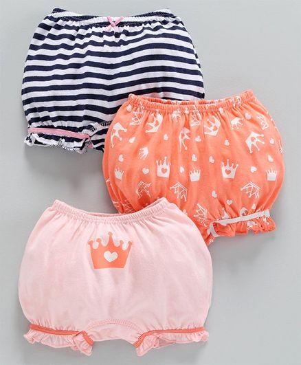 Babyoye Cotton Bloomers Printed & Striped Pack of 3 - Coral Pink Black