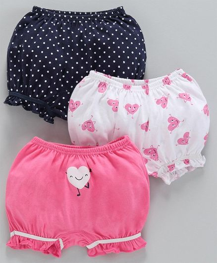 Babyoye Printed Cotton Bloomers Pack of 3 - Blue White Pink