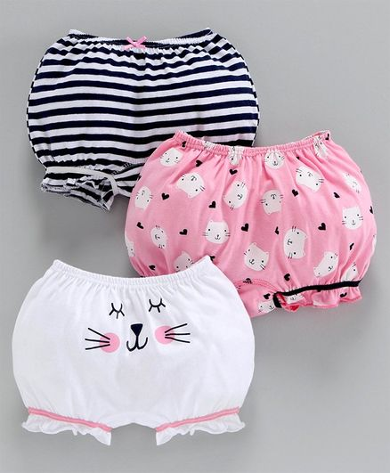 Babyoye Cotton Bloomers Kitty Print Pack of 3 - White Pink Navy Blue
