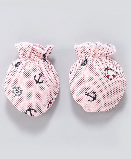 ToffyHouse Mittens Anchor Print - White Pink
