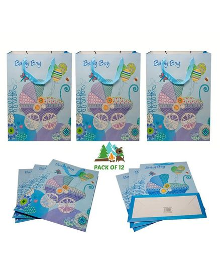 Amfin Baby Boy Themed Gift Paper Bags Blue - Pack of 12