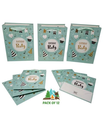 Amfin Birthday Party Themed Gift Paper Bags Green - Pack of 12