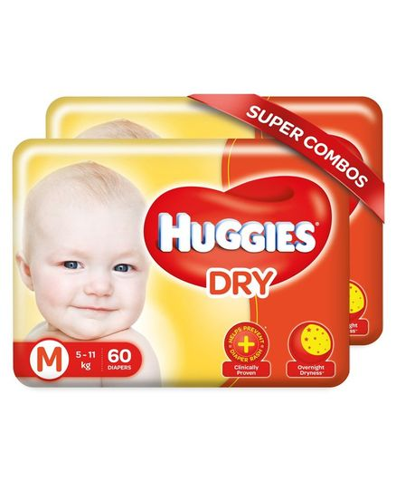 Huggies New Dry Diapers Medium  - 120 Pieces