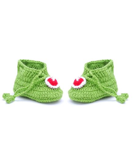 MayRa Knits Contrast Patch Booties - Green