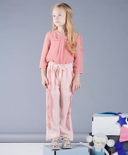 One Friday Bow Decorated Full Sleeves Top - Pink