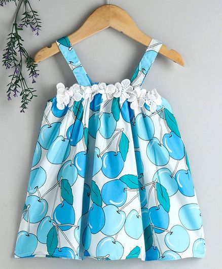 Kookie Kids Singlet Frock Allover Fruit Print - Blue
