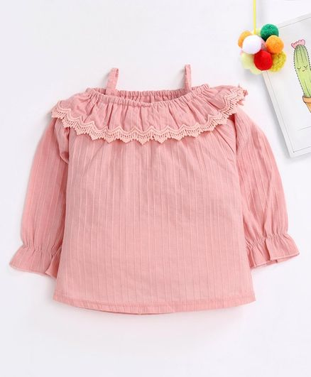 Kookie Kids Full Sleeves Cold Shoulder Solid Color Top - Pink