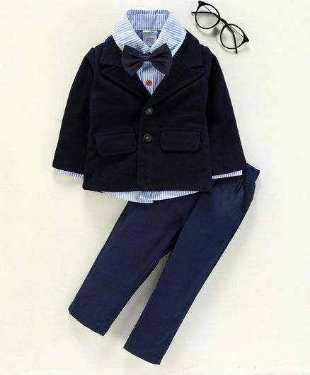 Kookie Kids 3 Piece Party Suit With Bow Tie - Deep Blue