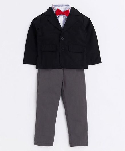Kookie Kids 3 Piece Party Suit With Bow Tie & Suspenders - Black