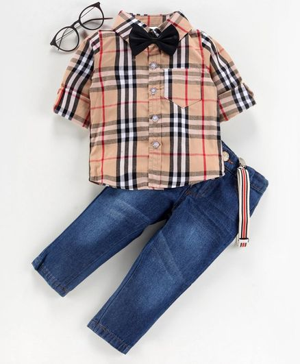 Kookie Kids Full Sleeves Checked Shirt with Trousers & Suspenders - Brown Blue