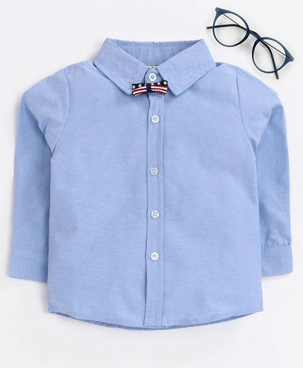 Kookie Kids Full Sleeves Solid Shirts with Bow - Blue