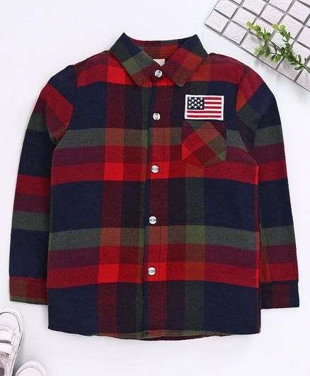 Kookie Kids Full Sleeves Checked Shirt - Red